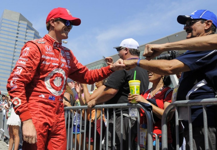Scott Dixon is introduced to the crowd during pre-race driver introductions on Sept. 1, 2013. (Lloyd Fox/Baltimore Sun)