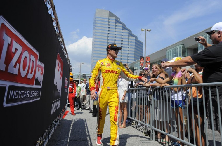 Driver Ryan Hunter-Reay is introduced during driver introductions at the Grand Prix of Baltimore on Sept. 1, 2013. (Lloyd Fox/Baltimore Sun)