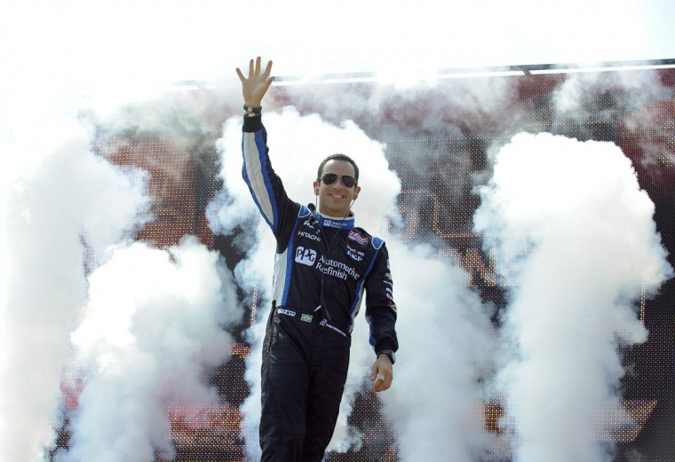 Helio Castroneves is introduced at the Grand Prix of Baltimore on Sept. 1, 2013. (Lloyd Fox/Baltimore Sun)
