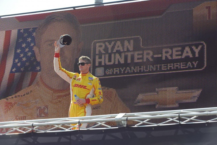 Driver Ryan Hunter-Reay is introduced at the Grand Prix of Baltimore on Sept. 1, 2013. (Lloyd Fox/Baltimore Sun)
