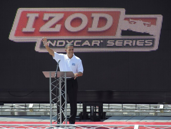 Lt. Gov. Anthony Brown is introduced at the Grand Prix of Baltimore on Sept. 1, 2013. (Lloyd Fox/Baltimore Sun)