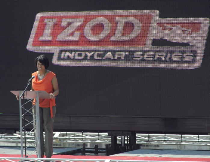 Baltimore Mayor Stephanie Rawlings-Blake speaks at the Grand Prix of Baltimore ahead of the big race on Sept. 1, 2013. (Lloyd Fox/Baltimore Sun)