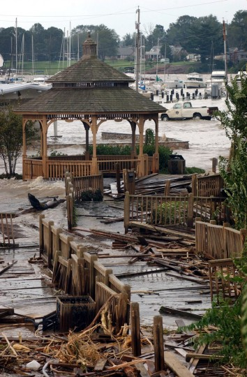 Devastation left behind by Hurricane Isabel in the coastal town of Havre de Grace. The waterfront promenade near Tydings Park Marina is completely destroyed by Hurricane Isabel and tidal water flooded the marina's parking lot in over two feet of water. (Kenneth K. Lam/Baltimore Sun)