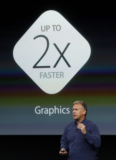 Phil Schiller, senior vice president of worldwide marketing for Apple Inc, talks about iOS7 during Apple Inc's media event in Cupertino, California September 10, 2013. (Stephen Lam/Reuters)