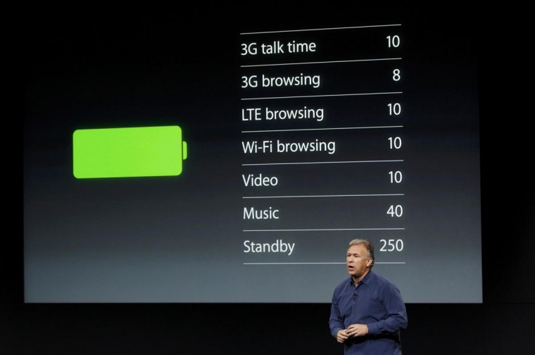 Phil Schiller, senior vice president of worldwide marketing for Apple Inc, talks about phone battery life during Apple Inc's media event in Cupertino, California September 10, 2013. (Stephen Lam/Reuters)