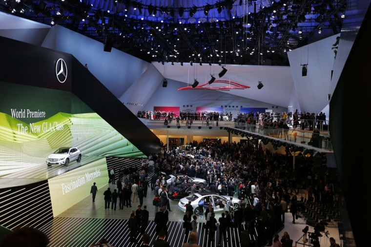 General view of the Mercedes Benz exbition area during a media preview day at the Frankfurt Motor Show (IAA) September 10, 2013. The world's biggest auto show is open to the public September 14 -22. (Kai Pfaffenbach/Reuters photo)