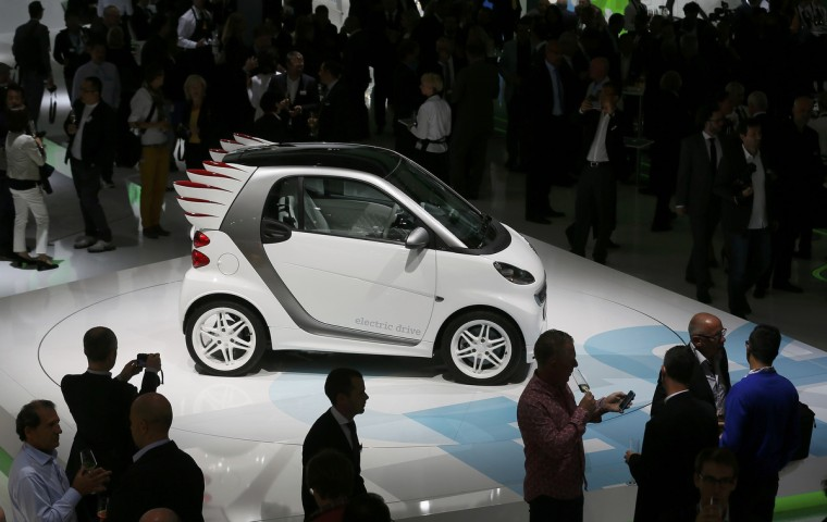 A Smart electric drive Jeremy Scott edition car is presented during a media preview day at the Frankfurt Motor Show (IAA) September 10, 2013. The world's biggest auto show will open to the public September 14-22. (Wolfgang Rattay/Reuters photo)