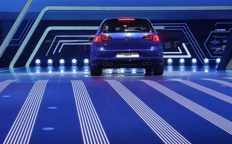 A Volkswagen Golf R car is displayed during a media preview day at the Frankfurt Motor Show (IAA) September 10, 2013. (Ralph Orlowski/Reuters photo)