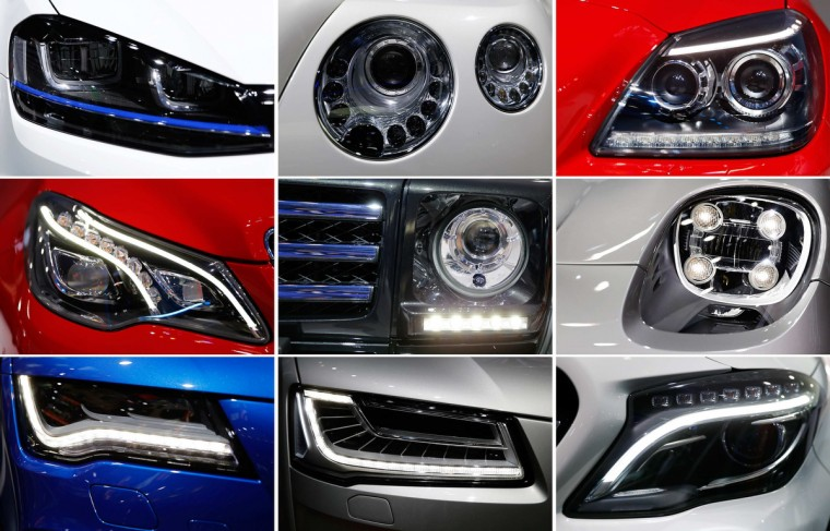 A combination picture shows the front lights of different car manufacturers during a media preview day at the Frankfurt Motor Show (IAA) September 11, 2013. (Kai Pfaffenbach/Reuters photo)