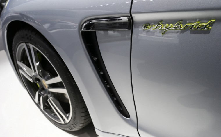 New Porsche Panamera S e-hybrid is pictured during a media preview day at the Frankfurt Motor Show (IAA) September 11, 2013. The world's biggest auto show is open to the public September 14 -22. (Ralph Orowski/Reuters photo)