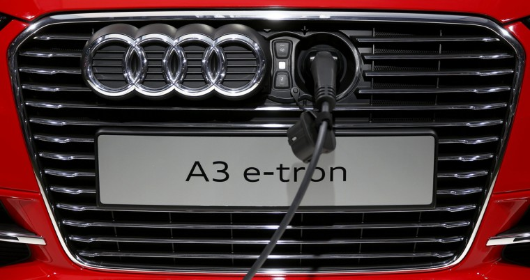 An Audi A3 e-tron is pictured plugged to a charging station during a media preview day at the Frankfurt Motor Show (IAA) September 10, 2013. (Kai Pfaffenbach/Reuters photo)
