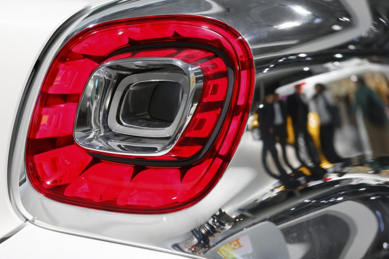 A tail light of a Smart electric drive Jeremy Scott edition car is pictured during a media preview day at the Frankfurt Motor Show (IAA) September 10, 2013. The world's biggest auto show is open to the public September 14 -22. (Pawel Kopczynski/Reuters photo)