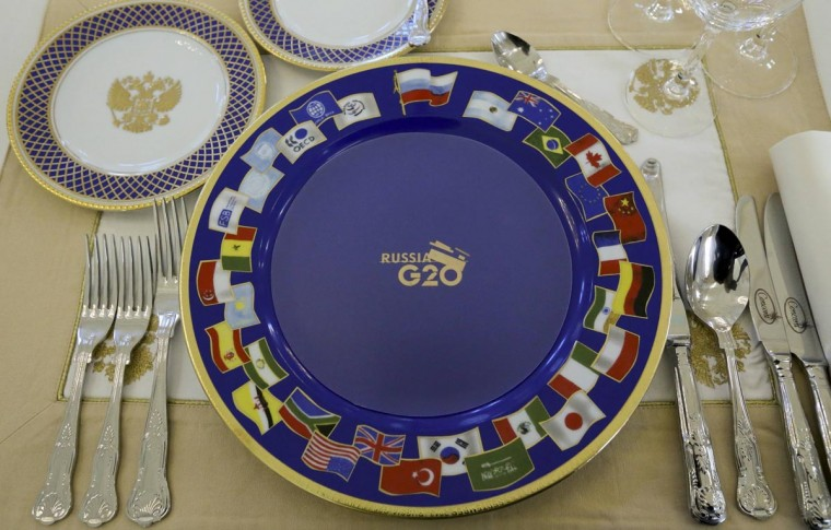 A dinner place setting for the attendees of the G20 Summit is pictured in Constantine Palace in Strelna near St. Petersburg, September 5, 2013. (Sergei Karpukhin/Reuters)