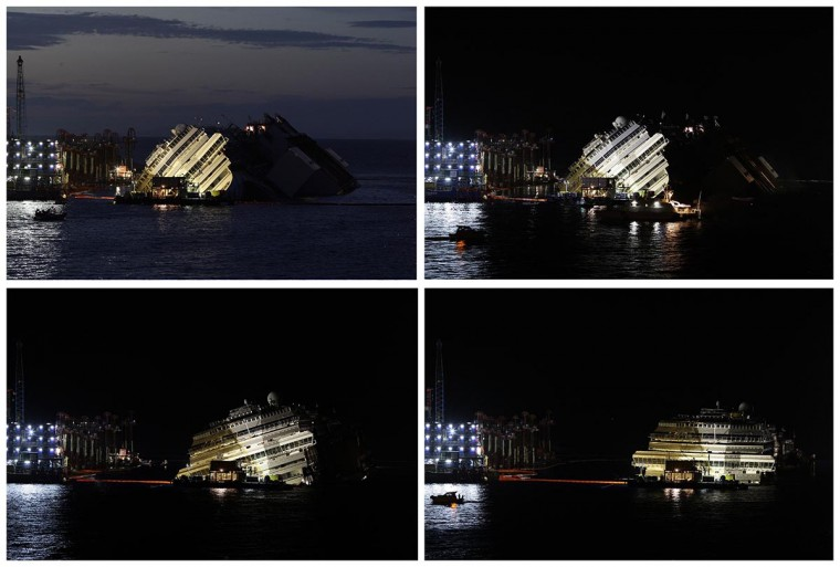 "A combination photo shows the capsized cruise liner Costa Concordia during and at the end of (bottom R) the ""parbuckling"" operation outside Giglio harbor September 17, 2013. (Tony Gentile/Reuters)"