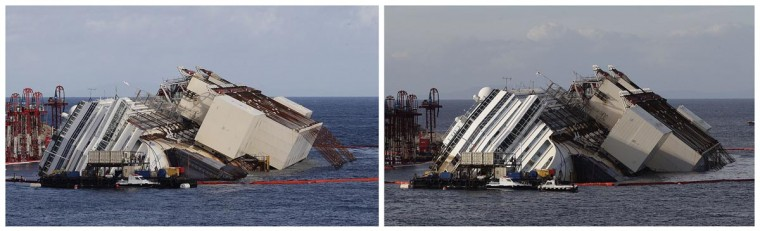 "The capsized cruise liner Costa Concordia is shown in this combination picture taken during the ""parbuckling"" operation outside Giglio harbour September 16, 2013. (Tony Gentile/Reuters)"
