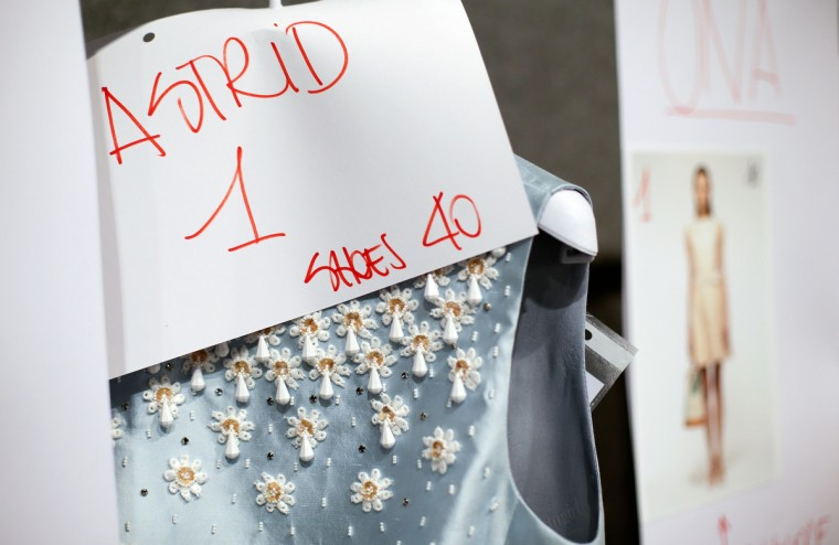 A dress is seen backstage at the presentation of the Blugirl Spring/Summer 2014 collection during Milan Fashion Week. (Max Rossi/Reuters photo)