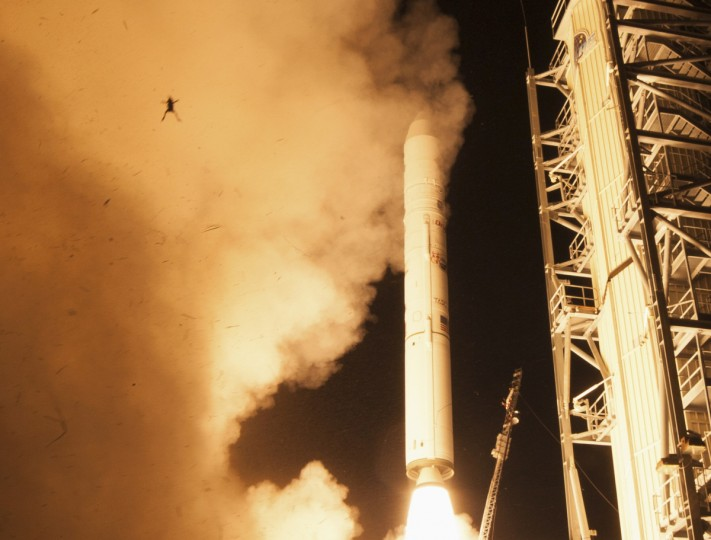 A frog is captured during a lift off of NASA's Lunar Atmosphere and Dust Environment Explorer (LADEE) from NASA's Wallops Flight Facility in Virginia, September 6, 2013. (Chris Perry/NASA)