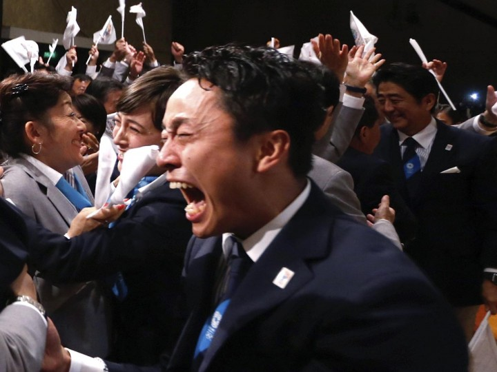 Japanese fencer Yuki Ota cries as Jacques Rogge President of the International Olympic Committee (IOC) announces Tokyo as the city to host the 2020 Summer Olympic Games during a ceremony in Buenos Aires September 7, 2013. (Marcos Brindicci/Reuters)