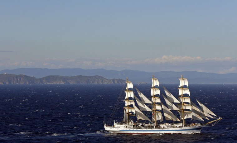 Russian sailing ship 'Mir' participates in a parade for the Mediterranean Tall Ships regatta in Toulon. About 37 tall ships have gathered for the competition which ended with a parade in the bay of Toulon. (Jean-Paul Pelissier/Reuters)