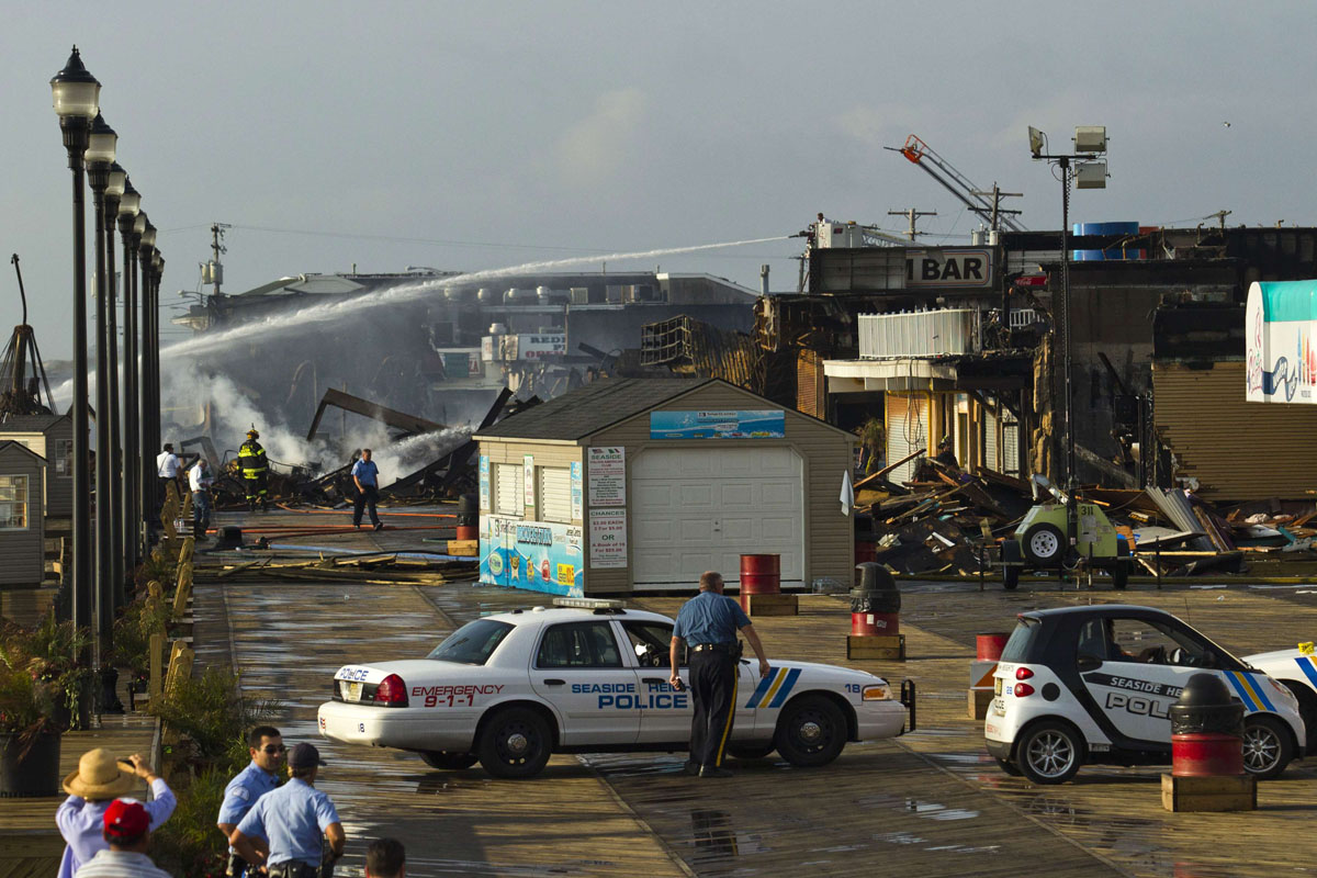 Fire torches New Jersey boardwalk badly damaged by Superstorm Sandy