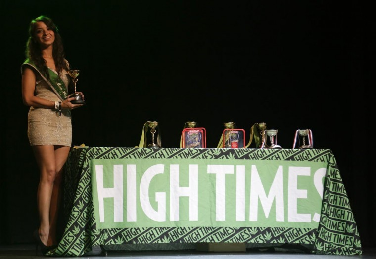 Miss High Times Yvette Marie Ramirez hands out awards at the High Times U.S. Cannabis Cup in Seattle, Washington September 8, 2013. (Jason Redmond/Reuters)