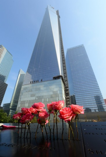 Roses stand in an etched name at the 9/11 Memorial during a ceremony marking the 12th Anniversary of the attacks on the World Trade Center in New York September 11, 2013. (David Handschuh/Getty Images)