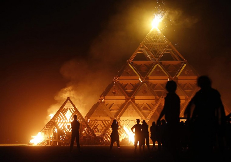 The Temple of Whollyness is burned during the Burning Man 2013 arts and music festival in the Black Rock Desert of Nevada, September 1, 2013. (Jim Urquhart/Reuters)