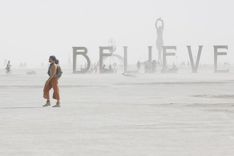 Dust envelops art installations during the Burning Man 2013 arts and music festival in the Black Rock Desert of Nevada, September 1, 2013. (Jim Urquhart/Reuters)