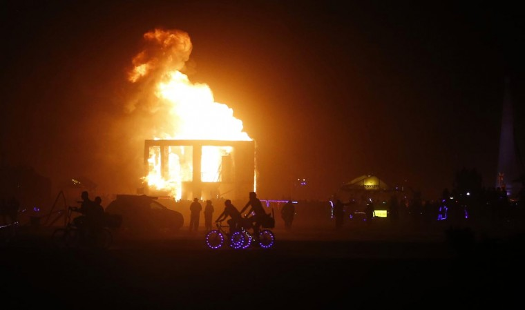 An art installation burns during the Burning Man 2013 arts and music festival in the Black Rock Desert of Nevada, August 31, 2013. (Jim Urquhart/Reuters)