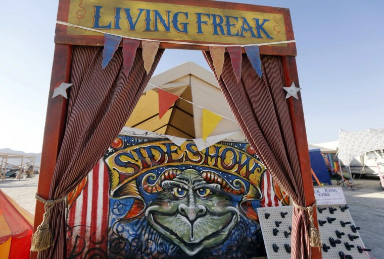 "A ""Freak Show"" art installation is seen at the 2013 Burning Man arts and music festival in the Black Rock desert of Nevada, August 30, 2013. (Jim Bourg/Reuters)"
