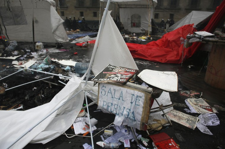 A portion of the improvised newsroom of the striking teachers' union CNTE is seen destroyed after they were evicted from Zocalo Square in downtown Mexico City. (Tomas Bravo / Reuters)