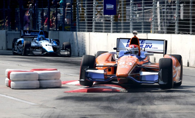 Charlie Kimball of Novo Nordisk Chip Ganassi Racing drives over the chicane at the Baltimore Grand Prix. (Kaitlin Newman/Baltimore Sun)