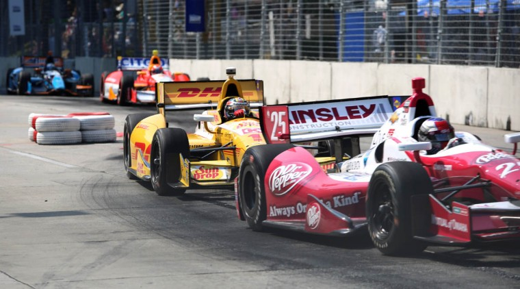 Marco Andretti of Andretti Racing and Ryan Hunter-Reay of Andretti Autosport lead the turn on the chicane at the Baltimore Grand Prix. (Kaitlin Newman/Baltimore Sun)
