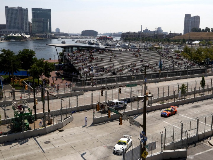People watch from the stands at the Baltimore Grand Prix. (Kaitlin Newman/Baltimore Sun)