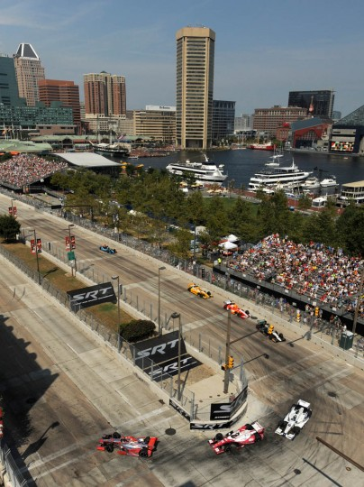 Cars navigate turn 3 at the Grand Prix of Baltimore 2013. (Algerina Perna/Baltimore Sun)