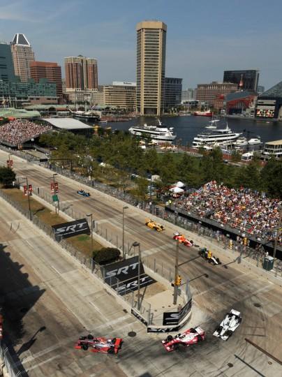 Cars navigate turn 3 at the Grand Prix of Baltimore 2013. (Algerina Perna/Baltimore Sun)