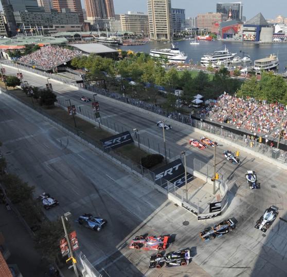 Cars navigate Turn 3 at Grand Prix of Baltimore 2013. (Algerina Perna/Baltimore Sun)