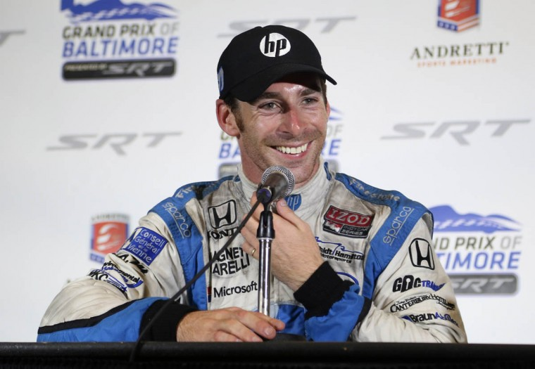 Simon Pagenaud answers reporters' questions during the post race press conference following the IZOD IndyCar Series at the 2013 Grand Prix of Baltimore. Pagenaud captured the flag. (Kaitlin Newman/Baltimore Sun)