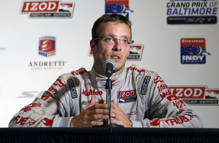 Third-place winner Sebastien Bourdais answers reporters' questions during the post race press conference following the IZOD IndyCar Series at the 2013 Grand Prix of Baltimore. Simon Pagenaud captured the flag. (Kaitlin Newman/Baltimore Sun)