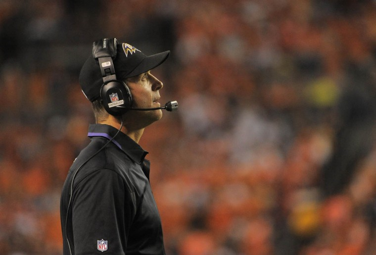 Ravens' head coach John Harbaugh looking in disbelief in the second half. Baltimore Ravens vs. Denver Broncos NFL football at Mile High Stadium. (Karl Merton Ferron/Baltimore Sun)