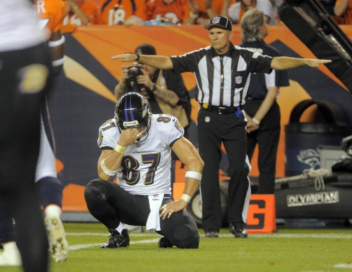 Ravens #87 Dallas Clark pauses after dropping a second quarter pass. Baltimore Ravens vs. Denver Broncos NFL football at Mile High Stadium. (Karl Merton Ferron/Baltimore Sun)