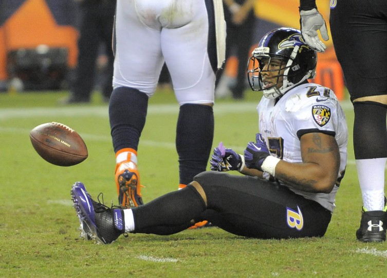 Ravens' #27 Ray Rice after being stopped on a third quarter run. Baltimore Ravens vs. Denver Broncos NFL football at Mile High Stadium. (Karl Merton Ferron/Baltimore Sun)