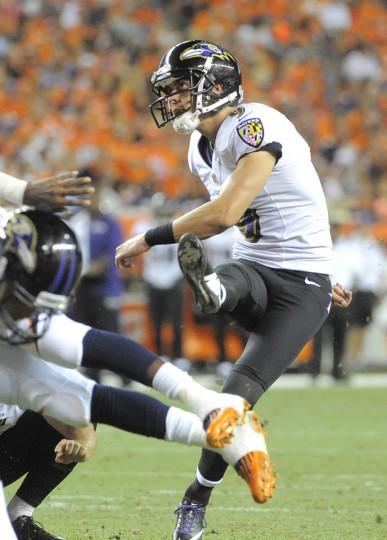 Ravens' kicker #9 Justin Tucker kicks an extra point in the second quuarter. Baltimore Ravens vs Denver Broncos NFL football at Sports Authority Field at Mile High Stadium. (Lloyd Fox/Baltimore Sun)