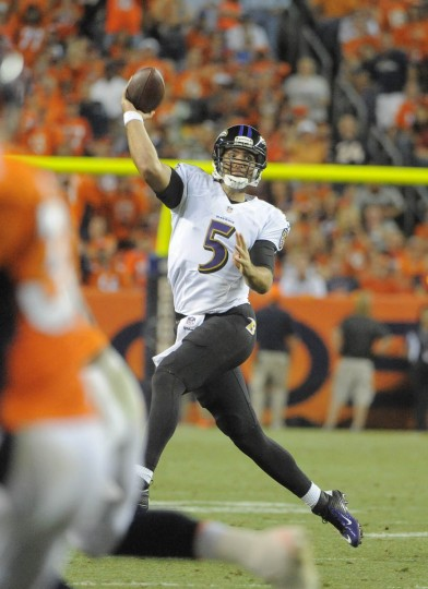 Baltimore Ravens QB Joe Flacco throws against the Denver Broncos NFL football second half at Sports Authority Field at Mile High Stadium. (Lloyd Fox/Baltimore Sun)