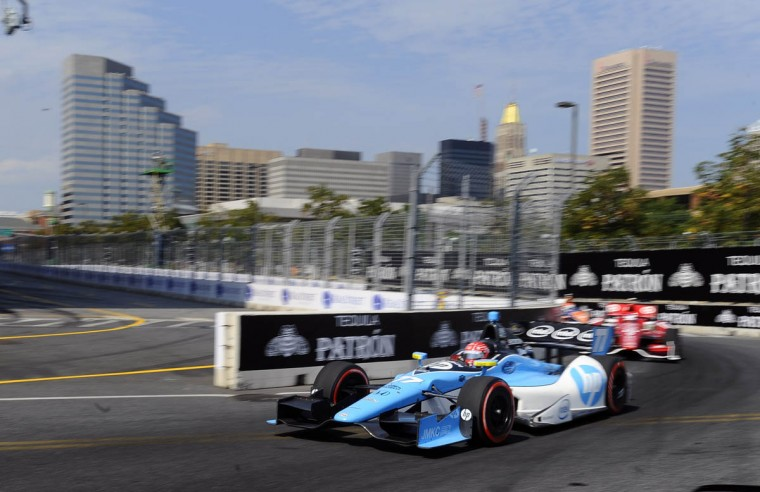 Indycar number 77 driven by Simon Pagenaud passes turn eight of the Grand Prix of Baltimore. (Kenneth K. Lam/Baltimore Sun)