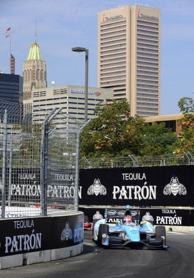 Indycar number 77, the eventual winner, driven by Simon Pagenaud passes turn eight of the Grand Prix of Baltimore. (Kenneth K. Lam/Baltimore Sun)