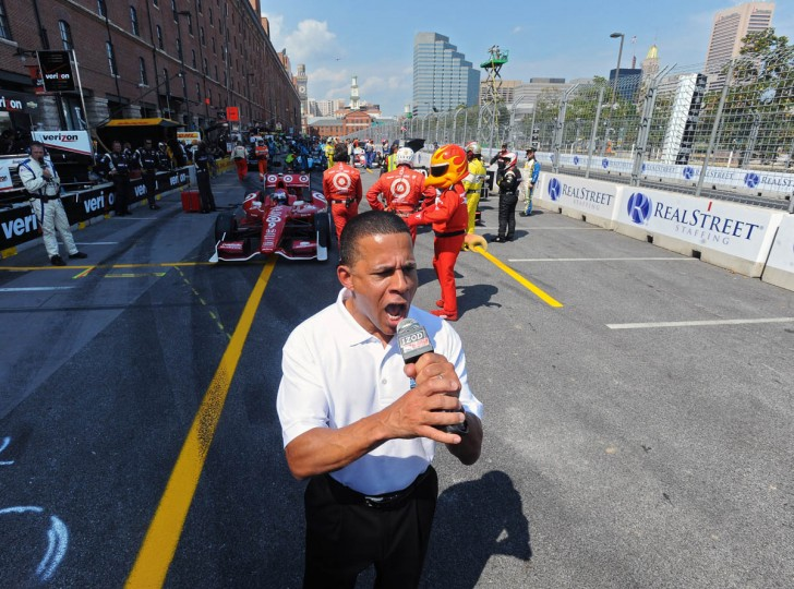 The 2013 Grand Prix of Baltimore Grand Marshall Maryland's Lt. Gov. Anthony Brown gives the command for the Indycars to start their engines. (Kenneth K. Lam/Baltimore Sun)