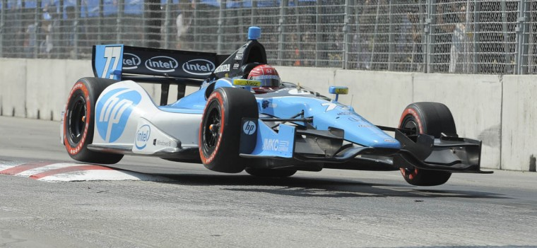 Simon Pagenaud driving the #77 car moves through the chicane as he would go on to win the race at the Grand Prix of Baltimore. (Lloyd Fox/Baltimore Sun)