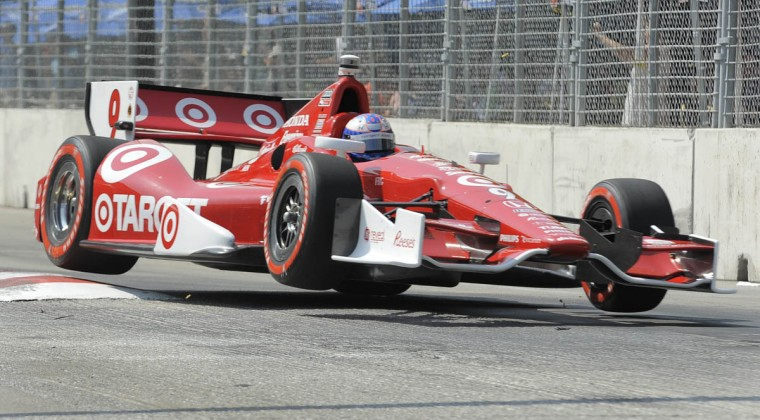 Scott Dixon, #9, moves through the chicane before getting knocked out of the race in lap 53 at the Grand Prix of Baltimore. (Lloyd Fox/Baltimore Sun)