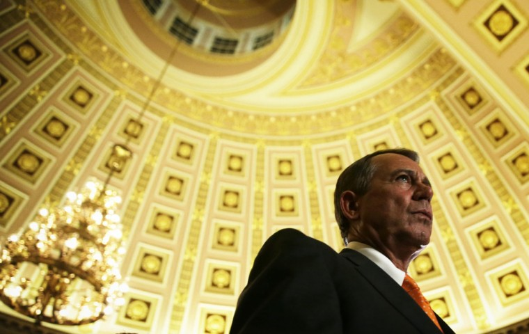 U.S. Speaker of the House Rep. John Boehner (R-OH) walks to the House Chamber for a vote October 16, 2013 on Capitol Hill in Washington, DC. On the 16th day of a government shutdown, the House has passed a bill to reopen the government until January 15 and raise the nation's debt ceiling until February 7, 2014. (Photo by Alex Wong/Getty Images)